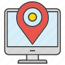 computer, desktop, gps, location, map pin, pin, tracking icon