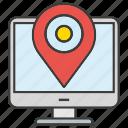 computer, desktop, gps, location, map pin, pin, tracking