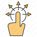 arrow, click, distribution, hand icon
