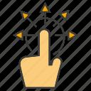 arrow, click, distribution, hand