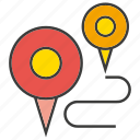 location, map, map pin, path, pin, route icon