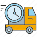 car, delivery, fast, send, shipping, time, truck icon