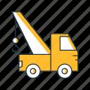 construction, crane, crane truck, equipment, hoist, truck icon