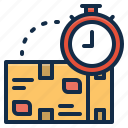 box, delivery, management, package, parcel, time icon