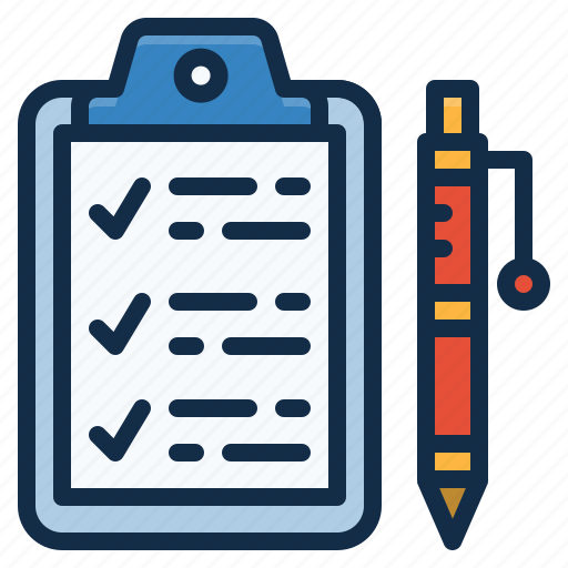 bill, checklist, clipboard, pen icon