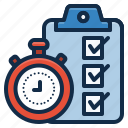 checklist, clipboard, clock, time icon