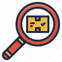 box, glass, magnifier, search, shipping, tool icon