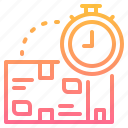 box, delivery, management, package, time icon
