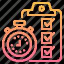 checklist, clipboard, clock, time icon