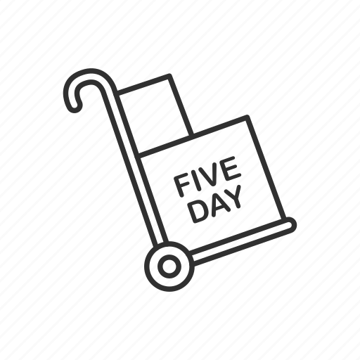 box, cart, delivery, five day, package, shipping, trolley icon