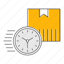 box, fast, logistics, shipping, timer, transport icon