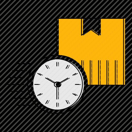 box, fast, logistics, shipping, timer, transport icon