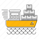 cargo, fast, logistics, sea, ship, transport icon