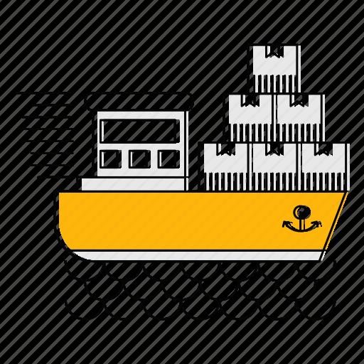 cargo, fast, logistics, sea, ship, transport icon