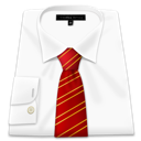 business, clothing, dress, red, shirt, tie icon