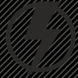 form, label, round, shock icon
