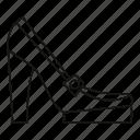 fashion, heel, line, outline, platform, shoes, womens icon