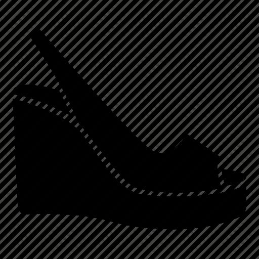 casual, footwear, ladies, platform, sandal, shoe, wedge icon