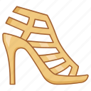 gladiator, heel, high, ladies, leather, sandals, shoe icon