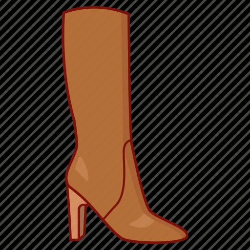 boot, footwear, high, knee, ladies, shoe, womens icon