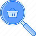 basket, commerce, magnifier, market, search, shop, shopping icon