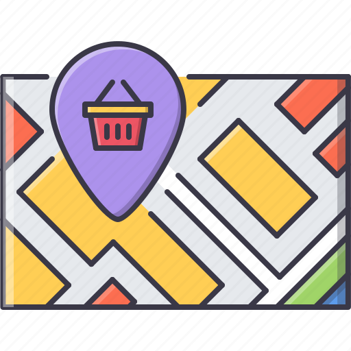 basket, location, map, marker, pin, shop, shopping icon