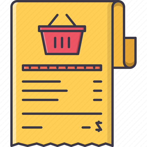 cashbox, check, commerce, list, purchase, shop, shopping icon