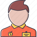 badge, commerce, consultant, manager, market, shop, shopping icon