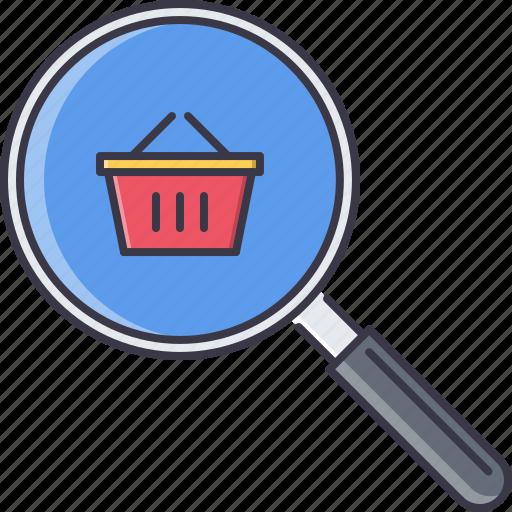 basket, commerce, magnifier, market, search, shop, shopping icon