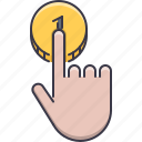 click, coin, hand, money, pay, payment, shop icon
