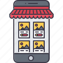app, commerce, market, mobile, phone, shop, shopping icon
