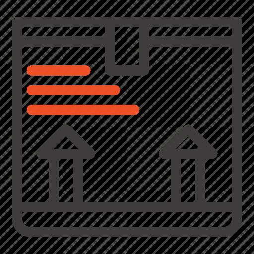 arrow, box, deliver, up icon