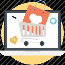 ecommerce, love shopping, online shopping, shopaholic, shopping addiction icon