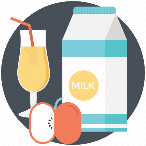 apple, food and drinks, fruit, juice glass, milk pack icon