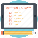 customer experience, customer questionnaire, customer satisfaction, customer survey, feedback survey icon