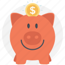 dollar, money, piggy bank, save money, savings icon