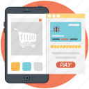 mcommerce, mobile payment, mobile shopping, online shopping, shopping app icon