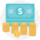 banknotes, cash payment, currency, dollar, money stack icon