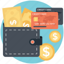 cash wallet, coin stack, credit cards, finance, payment methods icon