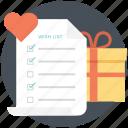 gift list, gift wish list, presents, want list, wishlist icon
