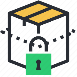 logistics security, package, padlock, protected box, safe shipping icon