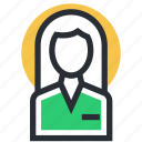 female avatar, female manager, lady, receptionist, woman icon