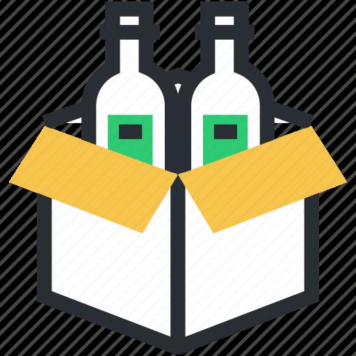 beer box, beer crate, wine box, wine crate, wine packaging icon