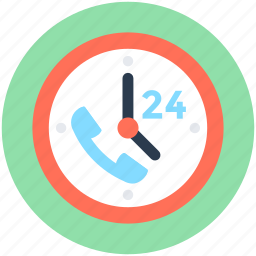 clock, customer service, full service, full time, helpline icon