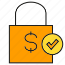 approve, check, money, security, shopping bag, tick icon