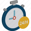 customer service, full service, clock, customer support, twenty four hours icon