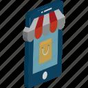 m commerce, online shopping, shopping app, shopping bag, tote bag icon