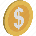 cash, currency coin, dollar, dollar coin, money, usd, wealth icon