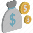 coins, coins sack, currency coins, dollar, dollar coins, money sack, wallet icon