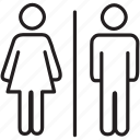 bathroom, female, male, mall, man, shopping, woman icon